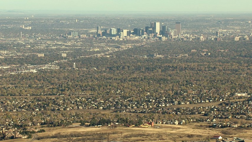 HD stock footage aerial video of zooming to a closer view of Downtown Denver and suburbs in Colorado Aerial Stock Footage | HDA13_485_04