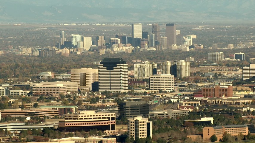 HD stock footage aerial video of Downtown Denver skyline and Centennial office buildings in Colorado Aerial Stock Footage | HDA13_488