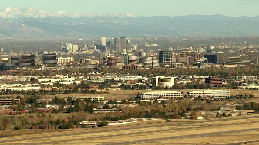 HD stock footage aerial video of Downtown Denver skyscrapers and Centennial office buildings in Colorado Aerial Stock Footage | HDA13_488_01