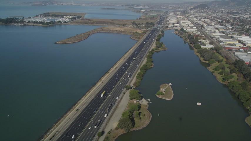 5K stock footage aerial video of flying over Interstate 80 freeway, Berkeley, California Aerial Stock Footage | JDC01_001