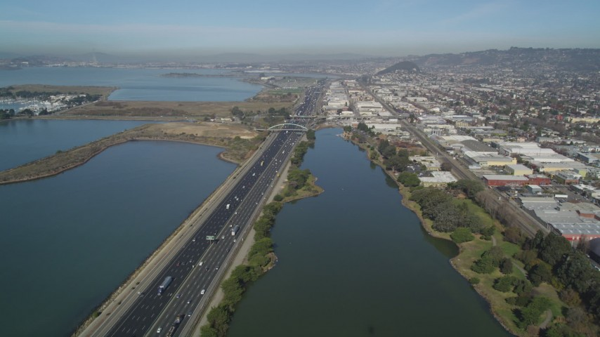5K stock footage aerial video of flying over Interstate 80 freeway, Aquatic Park, Berkeley, California Aerial Stock Footage | JDC01_002