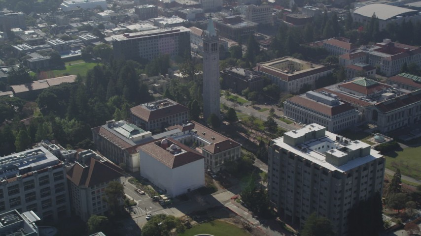 5K stock footage aerial video orbit Sather Tower and University of  California Berkeley campus, California