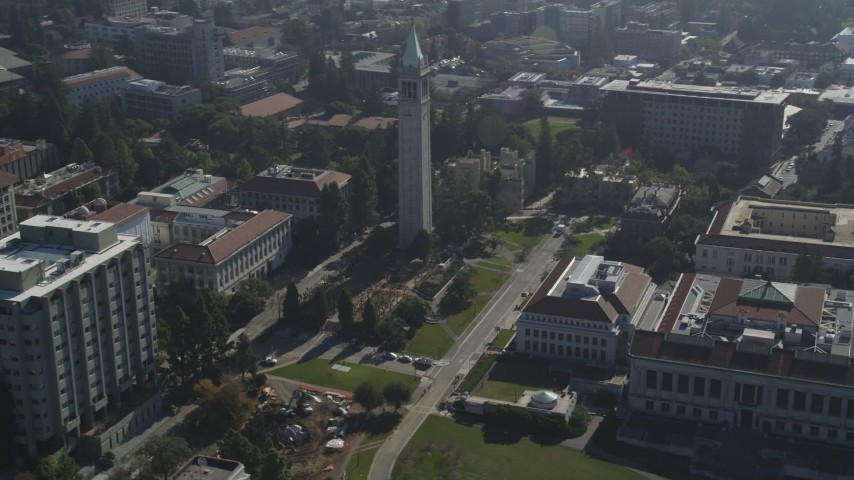 5K stock footage aerial video orbiting Sather Tower, University of California Berkeley campus, California Aerial Stock Footage | JDC01_006