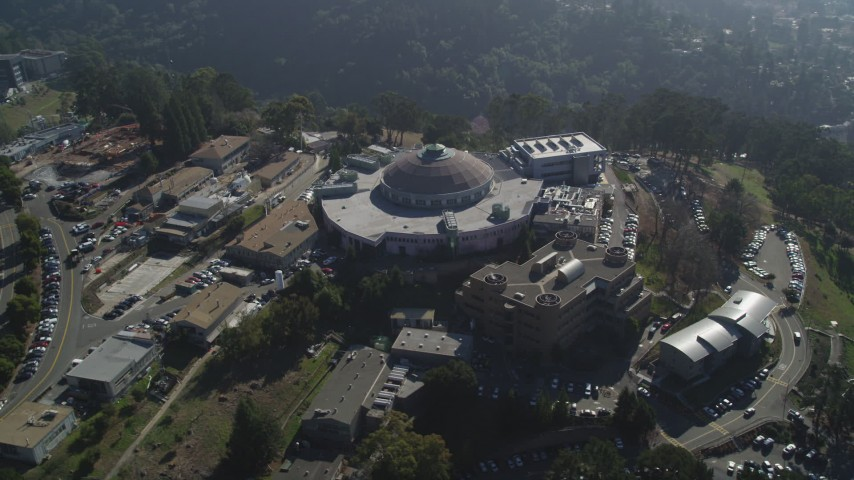5K stock footage aerial video of the Advanced Light Source scientific facility at Lawrence Berkeley National Laboratory, Berkeley, California Aerial Stock Footage | JDC01_008
