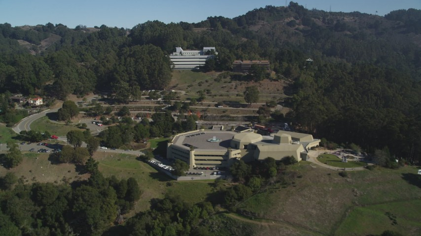 5K stock footage aerial video of approaching science research buildings at the University of California, Berkeley Aerial Stock Footage | JDC01_011