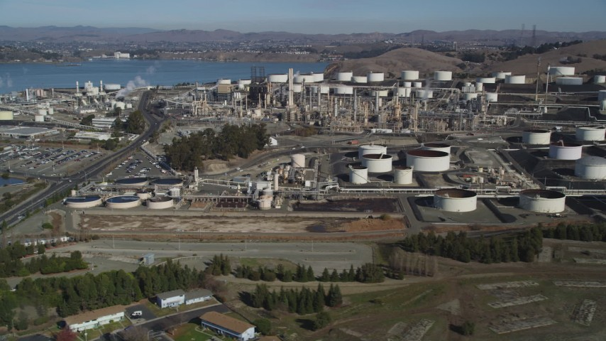 5K stock footage aerial video of flying by the ConocoPhillips Oil Refinery, Rodeo, California Aerial Stock Footage | JDC01_018