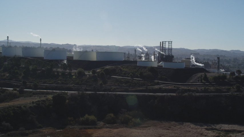 5K stock footage aerial video of flying away from the ConocoPhillips Oil Refinery, Rodeo, California Aerial Stock Footage | JDC01_026