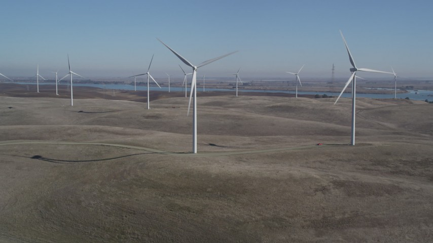 5K stock footage aerial video of approaching Shiloh Wind Power Plant windmills, Montezuma Hills, California Aerial Stock Footage | JDC01_066
