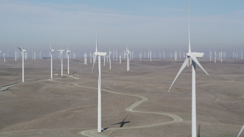 5K stock footage aerial video of flying by Shiloh Wind Power Plant windmills, Montezuma Hills, California Aerial Stock Footage | JDC01_069
