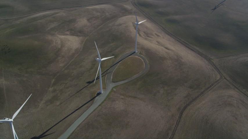5K stock footage aerial video of orbiting three windmills, Shiloh Wind Power Plant, Montezuma Hills, California Aerial Stock Footage | JDC01_078