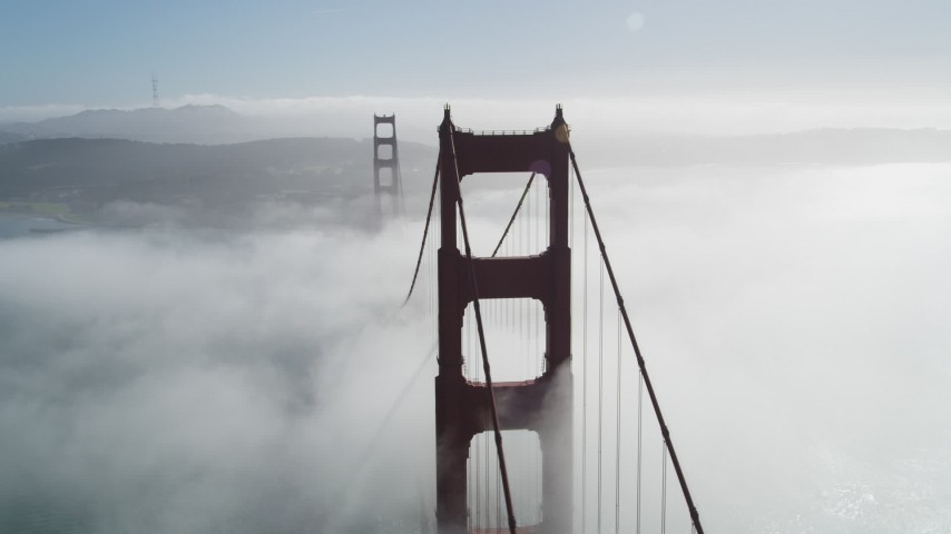 5K stock footage aerial video of orbiting Golden Gate Bridge shrouded in fog, San Francisco, California Aerial Stock Footage JDC02_016