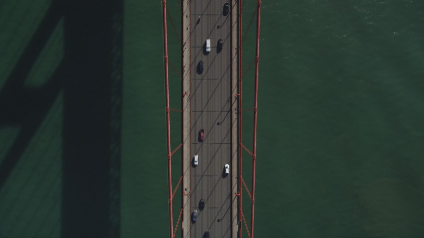 5K stock footage aerial video of a bird's eye view of white and black cars on Golden Gate Bridge, San Francisco, California Aerial Stock Footage | JDC02_021