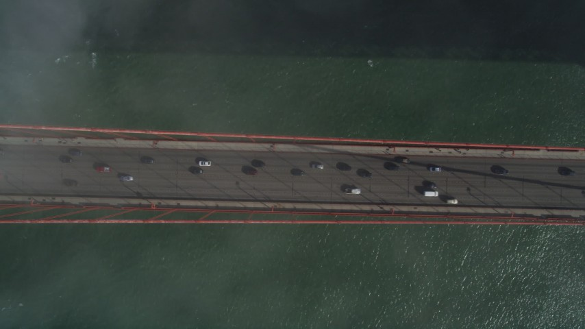 5K stock footage aerial video of bird's eye view of light traffic on the famous Golden Gate Bridge, San Francisco, California Aerial Stock Footage | JDC02_022