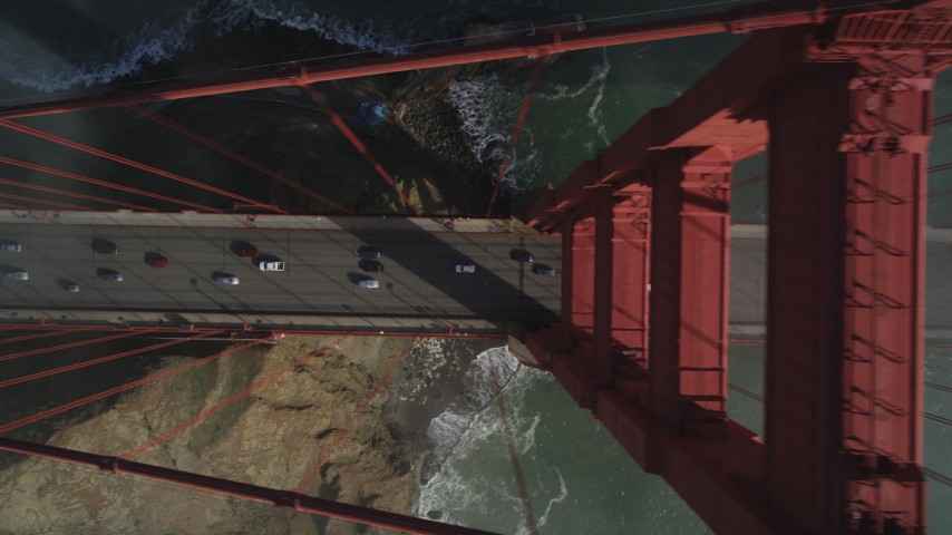 5K stock footage aerial video of a bird's eye view over light traffic on iconic Golden Gate Bridge, San Francisco, California Aerial Stock Footage | JDC02_023