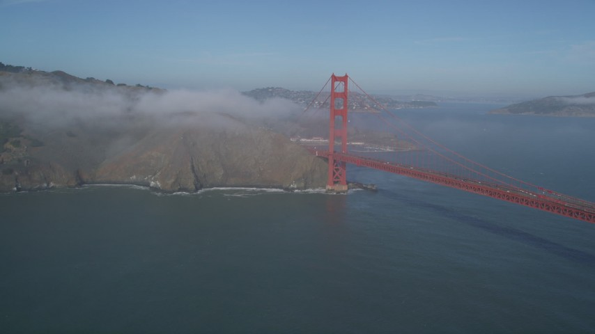 5K stock footage aerial video of flying by Marin Hills and Golden Gate Bridge with light fog, San Francisco, California Aerial Stock Footage | JDC02_028