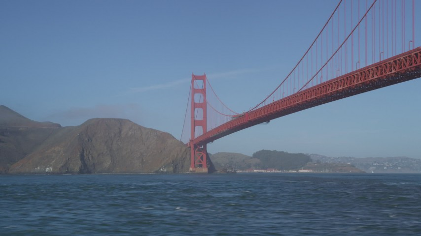 5K stock footage aerial video of historic Golden Gate Bridge while flying low over San Francisco Bay, San Francisco, California Aerial Stock Footage | JDC02_034