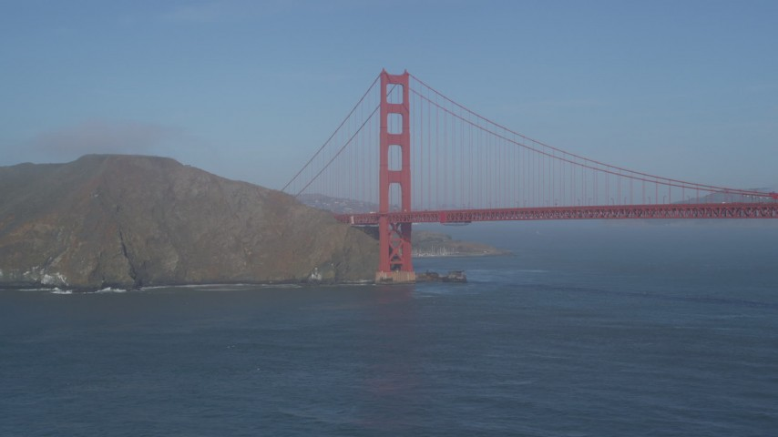 5K stock footage aerial video of approaching the Marin side of the iconic Golden Gate Bridge, San Francisco, California Aerial Stock Footage | JDC02_035