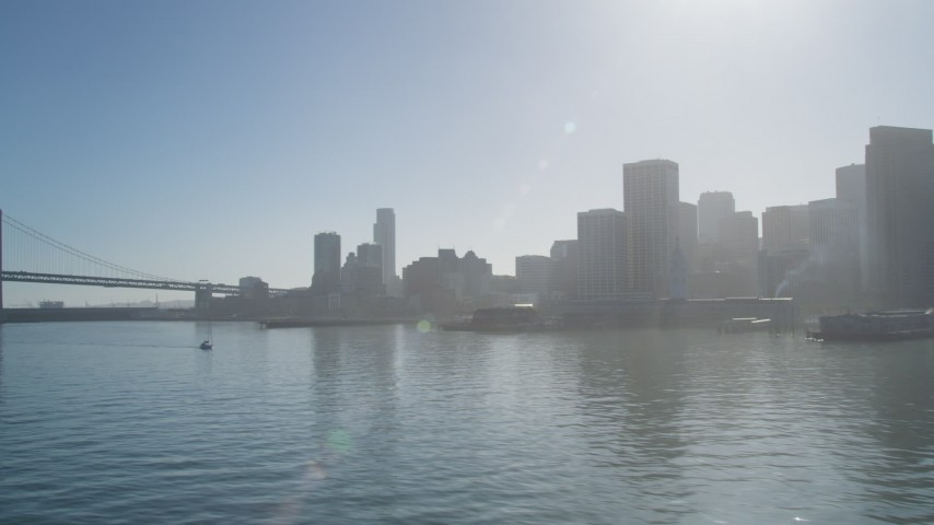 5K stock footage aerial video fly by Downtown San Francisco, seen from low over the Bay, California Aerial Stock Footage | JDC02_040