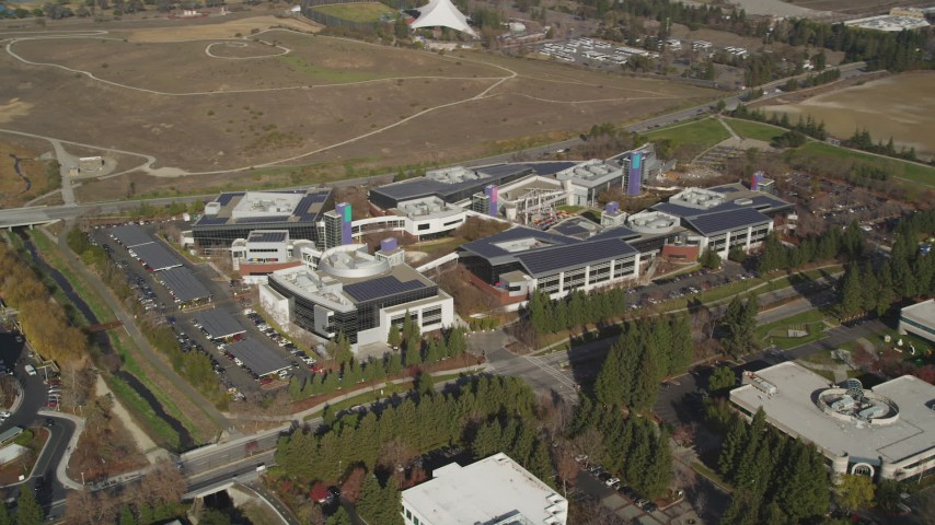 5K stock footage aerial video of orbiting Googleplex office buildings in Mountain View, California Aerial Stock Footage JDC03_012 | Axiom Images