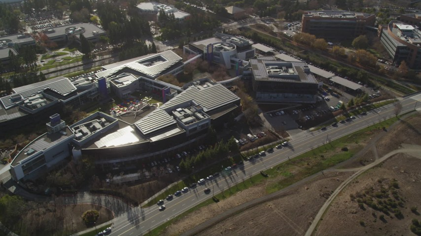 5K stock footage aerial video of orbiting the Googleplex office complex, Mountain View, California Aerial Stock Footage | JDC03_014