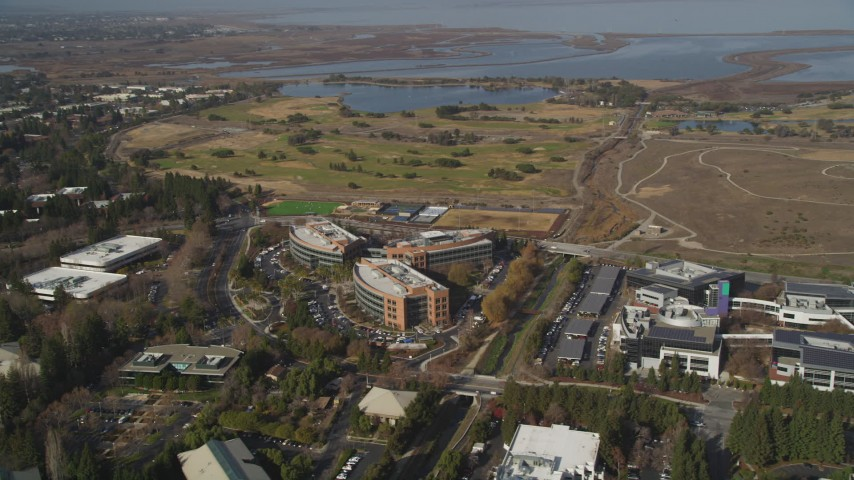 5K stock footage aerial video of Googleplex office buildings, Shoreline Golf Links golf course, Mountain View, California Aerial Stock Footage | JDC03_015