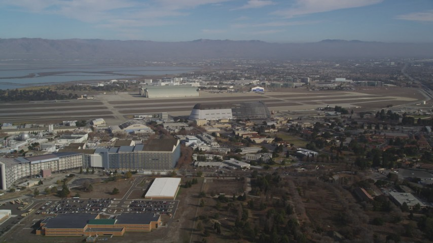 5K stock footage aerial video approach Moffett Field, Hangar One, NASA Ames Research Center, Mountain View, California Aerial Stock Footage   JDC03_020
