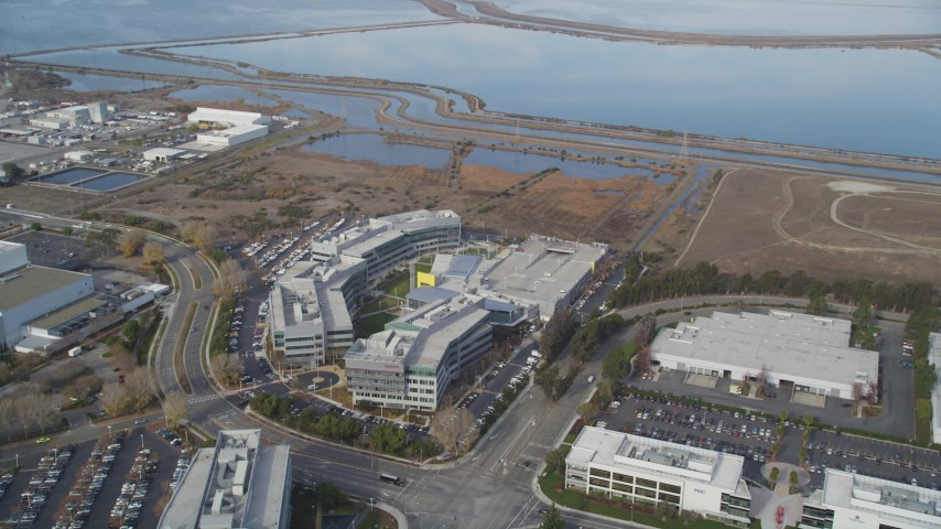 5K stock footage aerial video of flying by the Yahoo! Campus office buildings, Sunnyvale, California Aerial Stock Footage | JDC03_023