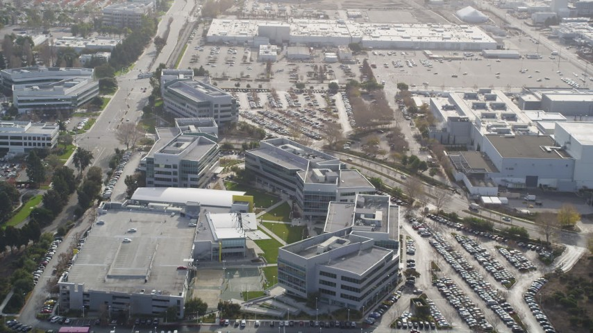 5K stock footage aerial video of tilting from wetlands, reveal Yahoo! Campus office buildings, Sunnyvale, California Aerial Stock Footage | JDC03_024