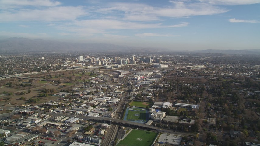 5K stock footage aerial video of approaching Downtown San Jose, California Aerial Stock Footage | JDC04_001
