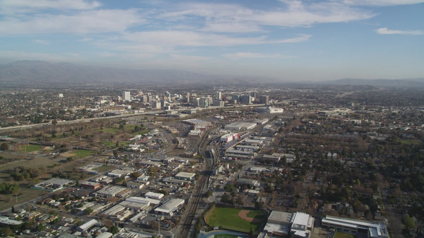 5K stock footage aerial video of an approach to Downtown San Jose, California Aerial Stock Footage | JDC04_002