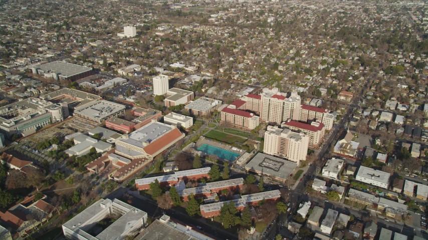 5K stock footage aerial video of orbiting San Jose State University, Downtown San Jose, California Aerial Stock Footage | JDC04_003