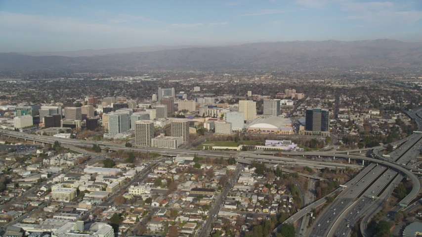 5K stock footage aerial video of the city seen from Highway 87/Interstate 280 freeway interchange, Downtown San Jose, California Aerial Stock Footage | JDC04_005