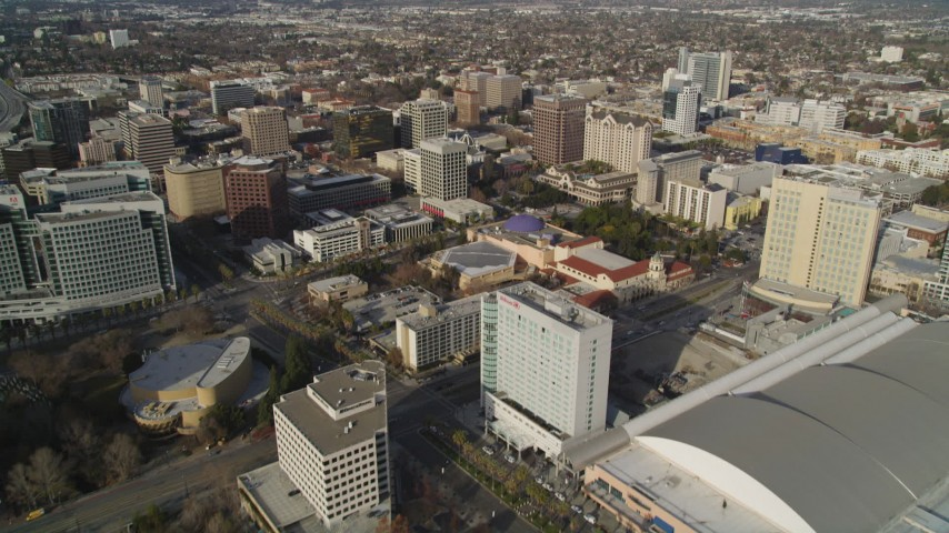 5K stock footage aerial video tilt from museum and convention center for wider view of Downtown San Jose, California Aerial Stock Footage | JDC04_007