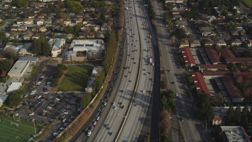 5K stock footage aerial video of a reverse view of Interstate 280 freeway, San Jose, California Aerial Stock Footage | JDC04_012