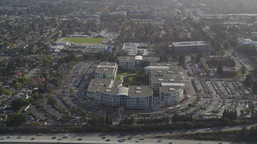 5K stock footage aerial video of Apple Headquarters office buildings, Cupertino, California Aerial Stock Footage | JDC04_014