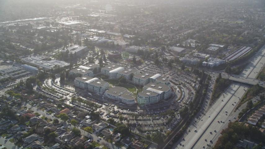 5K stock footage aerial video of orbiting Apple Headquarters office  buildings, Cupertino, California