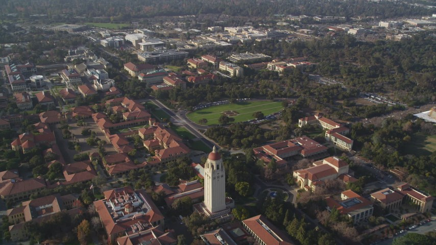 5K stock footage aerial video of Stanford University Medical Center, Hoover Tower, Stanford University, California Aerial Stock Footage | JDC04_022