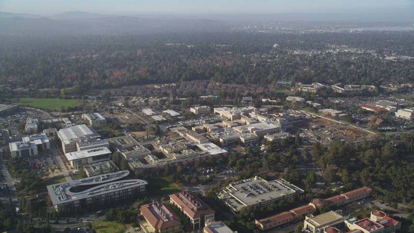 5K aerial video of approaching Stanford University Medical Center, Stanford, California Aerial Stock Footage | JDC04_023