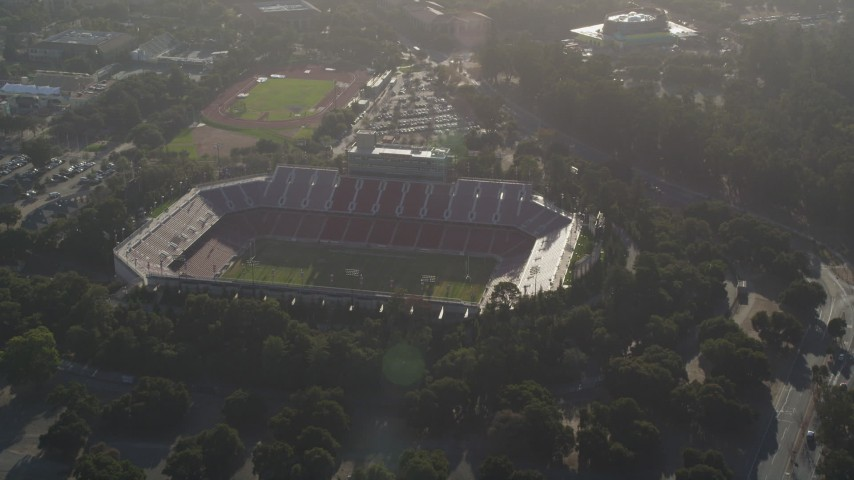 5K aerial video tilt from Stanford Stadium, reveal Stanford University and Hoover Tower, Stanford, California Aerial Stock Footage | JDC04_024