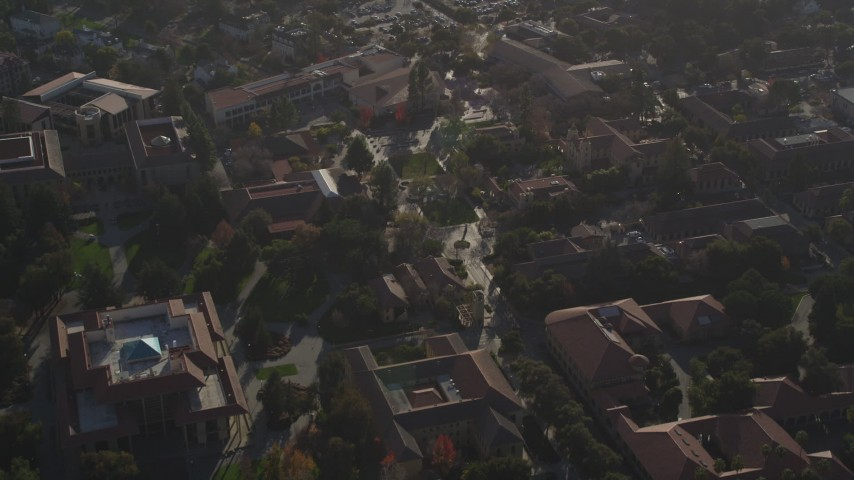 5K stock footage aerial video of approaching Hoover Tower, tilt down to the Stanford University campus, Stanford, California Aerial Stock Footage | JDC04_025