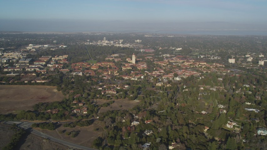 5K stock footage aerial video of approaching Stanford University at Hoover Tower, Stanford, California  Aerial Stock Footage | JDC04_028