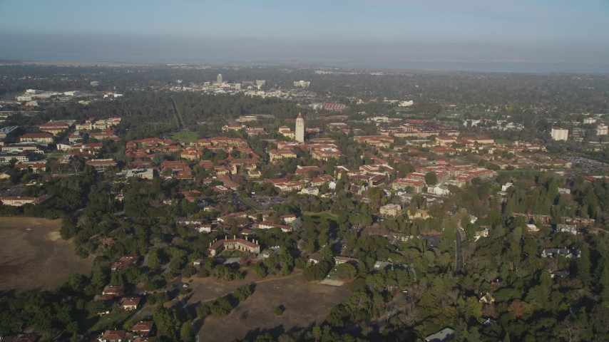 5K stock footage aerial video of approaching Stanford University and Hoover Tower, Stanford, California Aerial Stock Footage | JDC04_029