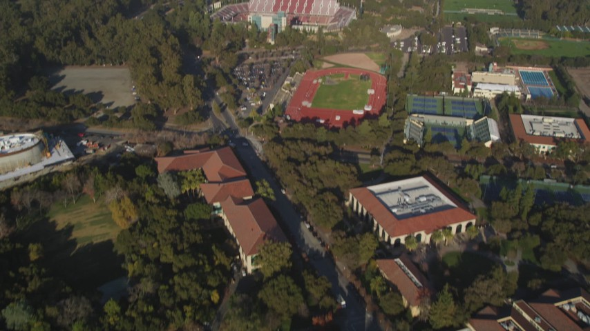 5K stock footage aerial video of Cobb Track, Angel Field, Stanford Stadium at Stanford University, California Aerial Stock Footage | JDC04_030