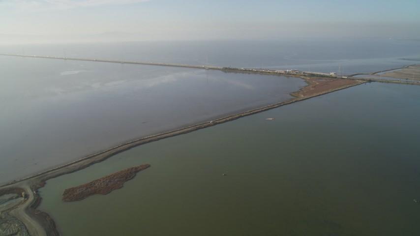 5K stock footage aerial video of approaching the San Mateo Bridge spanning San Francisco Bay, California Aerial Stock Footage | JDC04_039