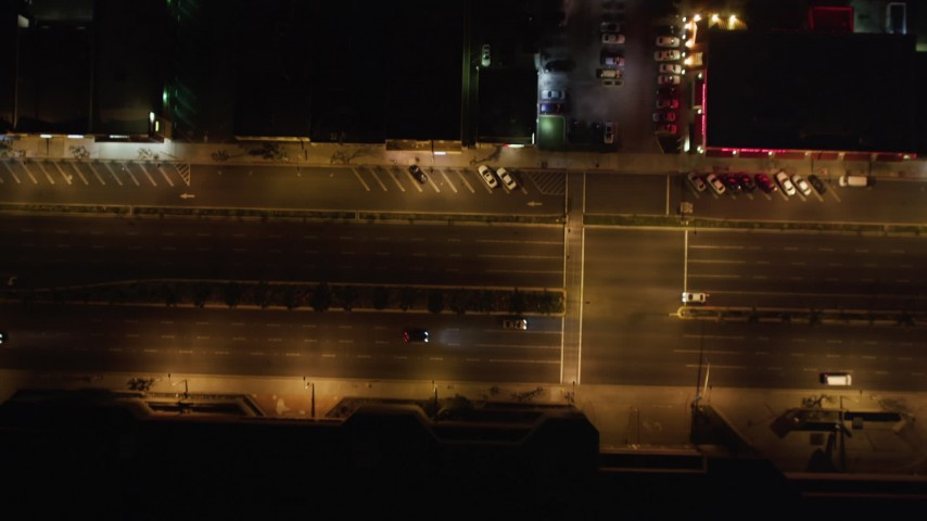 5K stock footage aerial video of streets and apartments at night in Hawthorne, California Aerial Stock Footage | LD01_0002