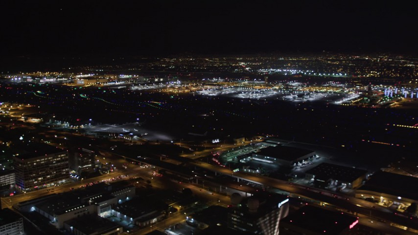 5K stock footage aerial video of LAX (Los Angeles International Airport), California at nighttime Aerial Stock Footage | LD01_0004