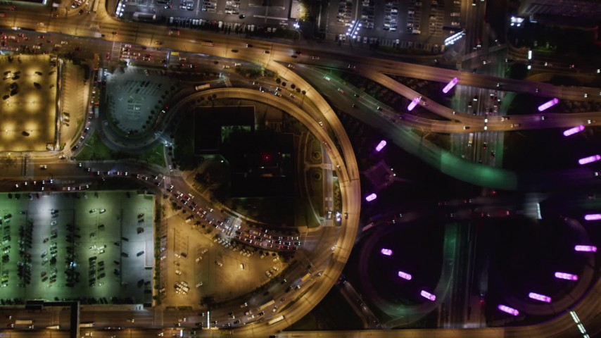 5K stock footage aerial video of city streets at LAX (Los Angeles International Airport), California at night Aerial Stock Footage   LD01_0009