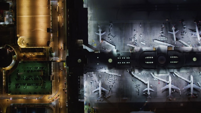 5K stock footage aerial video a bird's eye of LAX (Los Angeles International Airport), California at night Aerial Stock Footage | LD01_0014