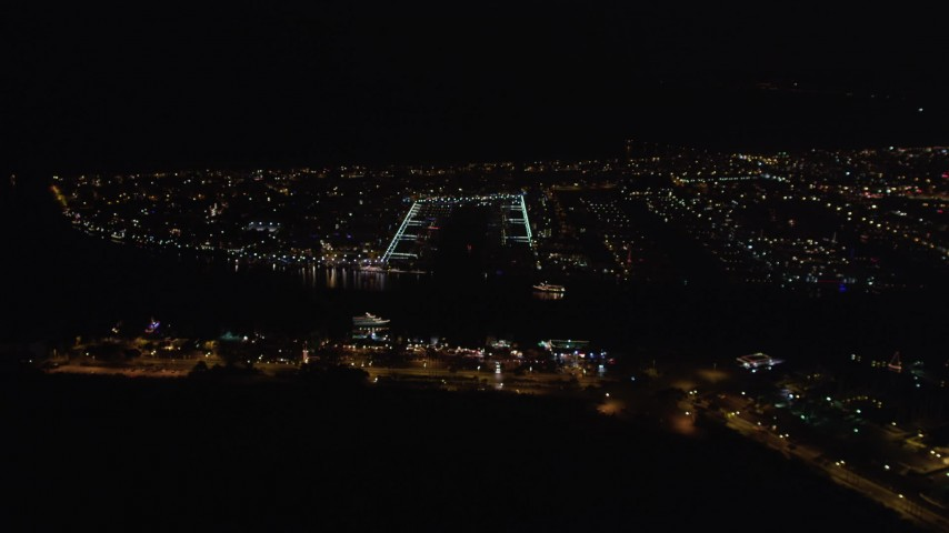 5K stock footage aerial video of an approach to Marina Del Rey, California at night Aerial Stock Footage | LD01_0018