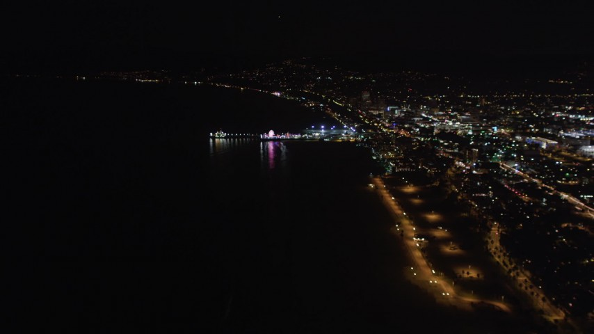 5K aerial stock footage video an approach to the Santa Monica Pier, California at night Aerial Stock Footage | LD01_0024